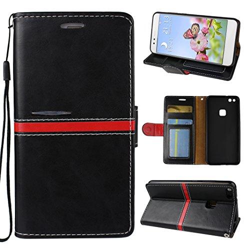 Preisvergleich Produktbild Huawei P10 Lite Tasche, Asnlove Hülle Brieftasche Schutzhülle Flip Case Wallet Case Handy Schutzhülle Pure, Handycover Klapphülle mit Kartenfach und Ständer für Huawei P10 Lite Schwarz