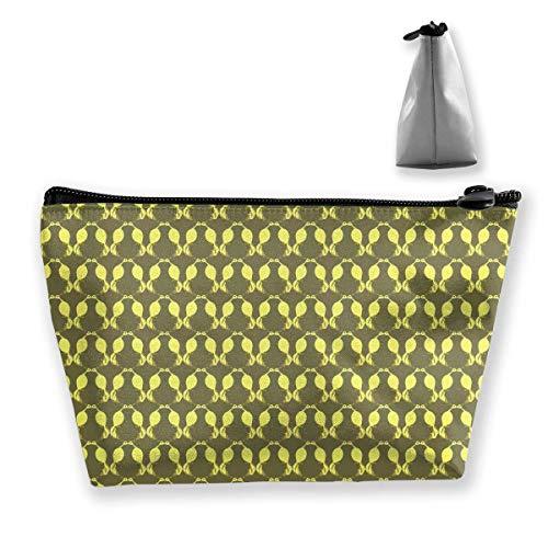 Gelbes Damast-Muster-trapezförmige Frauen-Kosmetik sackt Multi Funktions-Wäsche-Speicher-Beutel EIN - Damast-speicher