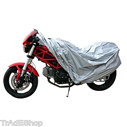 Preisvergleich Produktbild Trade Shop–Plane Schutzhülle Motorrad Scooter Fahrrad Polyethylen Silber Gr. L 130x 230