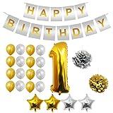 BELLE VOUS Globos Cumpleaños, 24pcs Birthday Decoración Suministros - Foil Globo, Banderines de Happy Birthday, Pom Poms - Globos de Látex Dorado e Plateado,Decoración Globos (1 Ano)