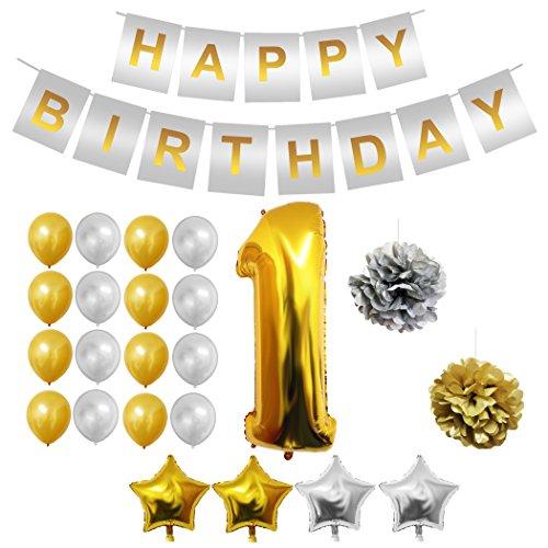 BELLE VOUS 1.Geburtstag Party Dekoration Set - 1.Geburtstag Luftballons, Gold & Silber Latex-Ballons, Happy Birthday Banner, Folienballon, Sterne Luftballons - 24-teiliges 1.Geburtstag Dekoration Set