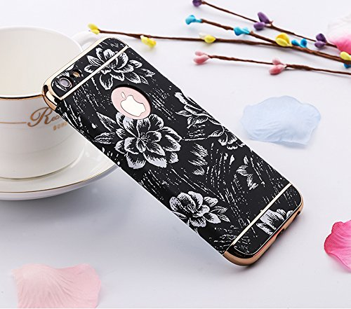 Sunroyal® Cover iPhone 6 plus, iPhone 6s plus Custodia [Shock-Absorption] 3 in 1 Armatura telaio in metallo Dura PC Fiori Texture in Rilievo Protettiva Custodia Case per Apple iPhone 6 plus / 6s plus  Modello 01