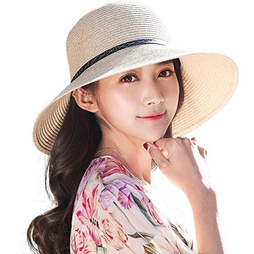 SIGGI Strohhut beiger Sommerhut Sun Shade Hut Sonnenschutz mit fürDamen breite Krempe