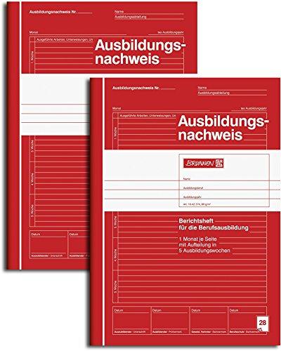 Brunnen 1042574 Ausbildungsnachweis / Berichtsheft, A4, liniert, 28 Blatt, rot (2er Pack)