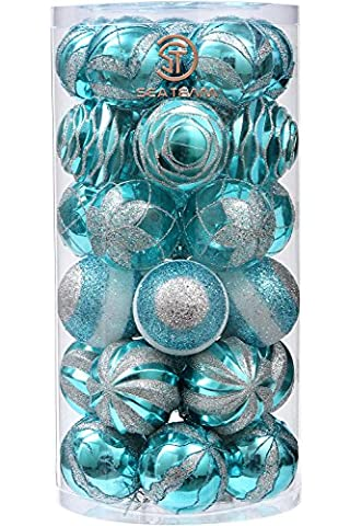 Sea Team 70 mm/7 cm Dekorative Bruchsichere Malerei & glitering Designs Christmas Ball Ornaments Set, 30er, plastik, Babyblue, (4 Ft Weihnachtsbaum)