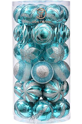Sea Team 70mm/7cm Dekorative Bruchsichere Malerei & glitering Designs Christmas Ball Ornaments Set, 30er, plastik, Babyblue, (Pailletten Ohrringe Kugel)