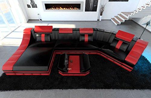 Rot-schwarz-leder-sofa (Sofa Dreams Leder Wohnlandschaft Turino C Form schwarz-rot)