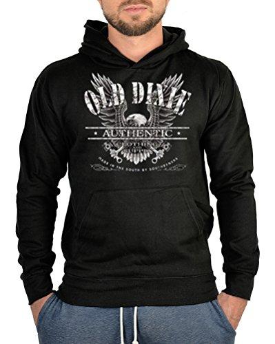 Kapuzen Pullover mit Motiv Old Dixie Vintage Adler Pullover Sweater Kapuzensweater Hoody Sweatshirt mit Kapuze Pulli (Dixie Adler)