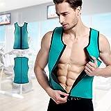 #10: THE GURU SHOP 1 Pcs Men Latex Ultra Sweat Hot Waist Trainer Body Shaper Slimming Fit Vest Neoprene Front Zipper Fat Borning Control Top Shapewear (M Size)