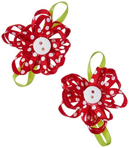 Offray Sa Schleifenband mit Blumenknöpfen, Rot