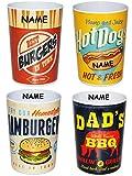 """1 Stück _ 3 in 1 - Trinkbecher / Zahnputzbecher / Malbecher - Becher - """" Retro Essen & Burger """" - incl. Name - 350 ml - Trinkglas aus Kunststoff Plastik Melamin - für Erwachsene & Kinder - Dekor / Grill - buntes retro Design - Campingbecher / Campinggeschirr - Plastikgeschirr mehrweg Camping Set / Plastikbecher - Kunststoffbecher bunt - Melaminbecher - Geschirr"""