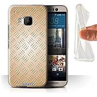 Custodia/Cover/Caso/Cassa Gel/TPU/Prottetiva STUFF4 stampata con il disegno Effetto metallo sbalzato per HTC One/1 M9 - Oro