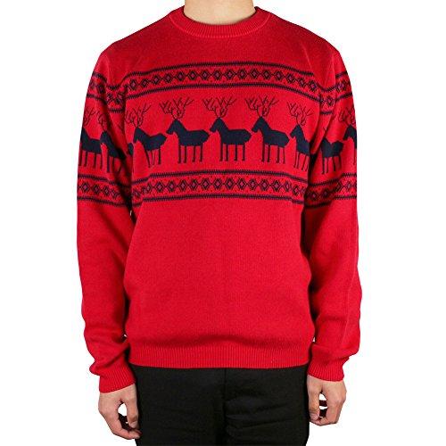 L.ROIINE Herren Sweatshirt mit weihnachtlichem Rentier, Slim Fit, langärmelig, Rundhalsausschnitt - Rot - Groß -