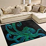 JSTEL INGBAGS Teppich, superweich, modern, Blauer Aquarell-Oktopus-Bereich, Wohnzimmer-Teppich für Kinder, Spielteppich und Teppiche, 203,2 x 147,2 cm