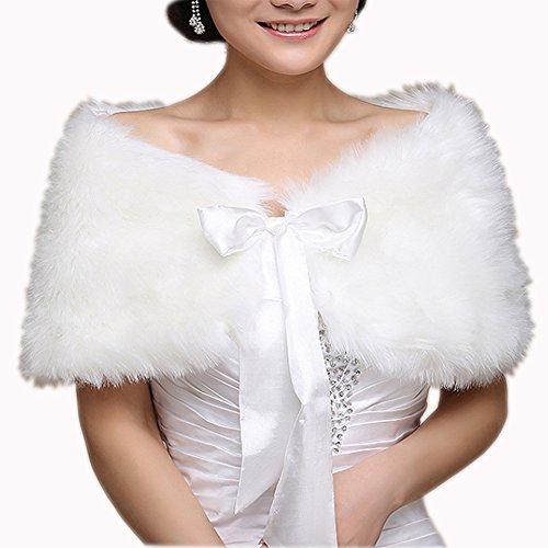 Schulter Cape (EQLEF® Brautzusatz Elfenbein Kunstpelz Hochzeit Braut Schal Brautschal Brautjacke Cape)