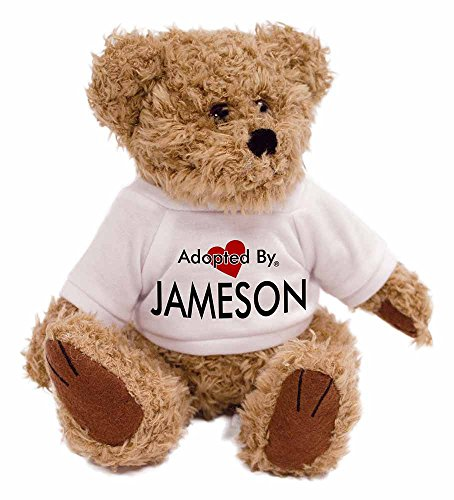adopted-by-jameson-teddy-bear-wearing-a-personalised-name-t-shirt