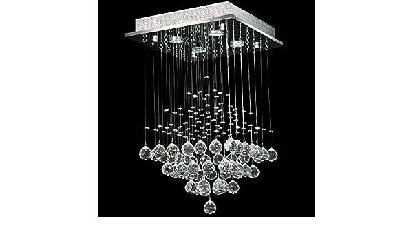 Kronleuchter Modern Halogen ~ Moderne quadratische klare kristall anh nger droplet deckenleuchte