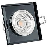 Glas LED Decken Einbaustrahler 230V dimmbar & super flach (30mm) in schwarz eckige Form mit 6W LED Modul warmweiß 2700K