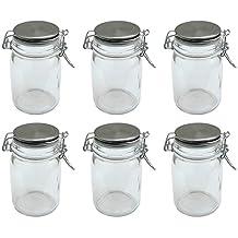 Tarro de cristal (recipiente de cristal con tapa de acero inoxidable y cierre de clip, 250ml, 6unidades)