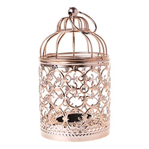 FXCO Hohle Halter Teelicht Kerzenständer Hängende Laterne Vintage Vogelkäfig 3 Farben (A, Roségold)