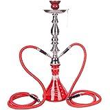 DXP-Shisha JYH01 Shisha con 2mangueras de salida de 53cm, color rojo