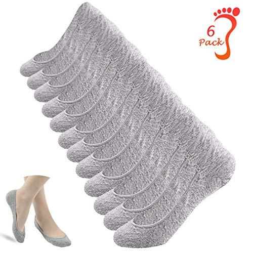 ECOMBOS Unsichtbare Socken Damen - 6 Paar Frauen Halbsocken Sportsocken Unsichtbare Sneaker Socken Füßlinge atmungsaktiv mit Silikon Grip rutschsicher (Grau)