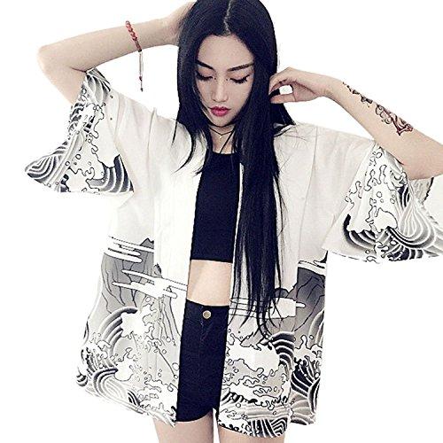 ZooBoo Japanische Kimono Jacke Robe - Traditionelle Klassische Haori Kleidung Tokio Harajuku Drachen Muster Antik Stil Kleidung Kostüm Bademantel Nachtwäsche für Frauen ()