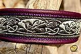 Hundehalsband Leder Keltische Drachen Lila Schwarz Silber Alu-Klickverschluss Rose-gold