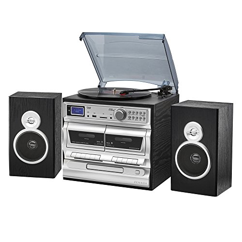 Zennox Midi Hi-Fi Music System 7-in-1 with Alarm, DAB/AM/FM Radio, Vinyl Turntable with Cassette, CD & MP3 Playback (Radio)