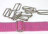 Verschieber-Regulatoren-Gurtschieber verchromt für Gurte/Bänder bis 25mm. 10 Stück.