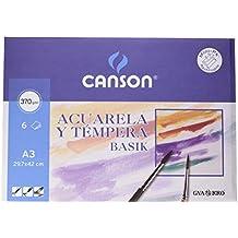 Canson 726445 - Pack de 6 hojas para acuarela, A3, 370 gr