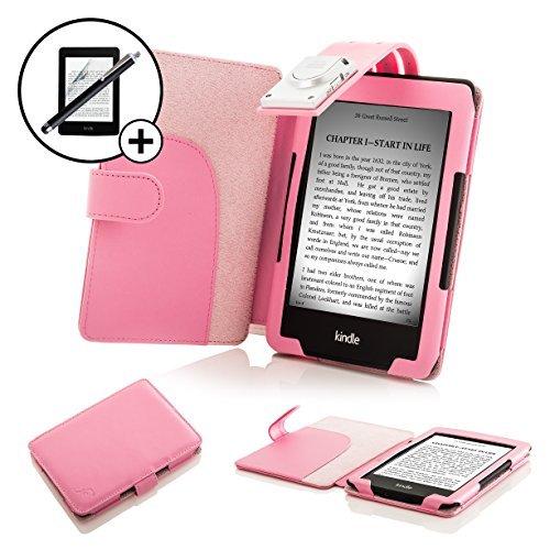 Forefront Cases Leder-Schutzhülle und LED-Strip Leselicht mit Stylus und Displayschutzfolie für Amazon Kindle 2014-Pink (Kindle-fall 7. Gen Licht)
