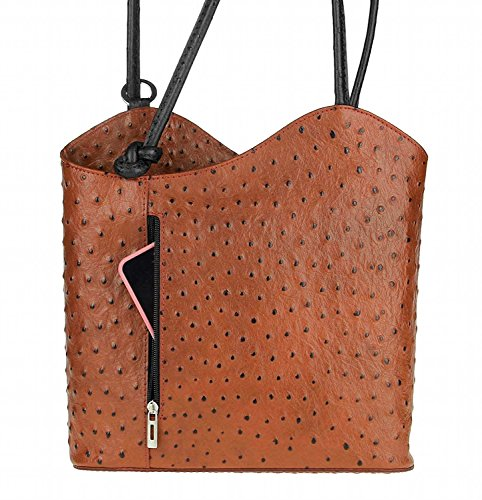 OBC Made in Italy Ledertasche Damentasche 2in1 Handtasche als Rucksack oder Umhängetasche/Schultertasche Tablet/Ipad mini bis ca. 10-12 Zoll 27x29x8 cm (BxHxT) (Dunkelblau (Lackleder)) Cognac (Strauß)