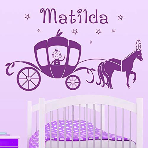 derzimmer Kunst dekor wandaufkleber benutzerdefinierte jeder Name Prinzessin kürbis pferdewagen Vinyl wandbild 97x58 cm ()