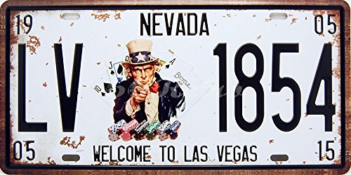 "66Retro, targa metallica decorativa da parete, motivo ""Welcome to Las Vegas"" (lingua inglese)"