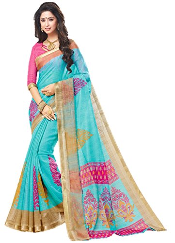 Miraan Women's Linen Saree With Blouse Piece (SRH123_MultiColoured_One Size)