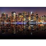 Vlies Fototapete 400x280 cm PREMIUM PLUS Wand Foto Tapete Wand Bild Vliestapete - NEW YORK LIGHTS SKYLINE - New York City USA Amerika Empire State Building Big Apple - no. 020