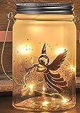 Gravidus schickes Deko-Glas zum Aufhängen, mit LED-Lichterkette (Engel)