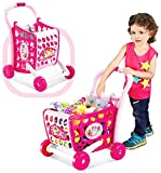 Tabu Toys World Imported Girls Shopping cart Toy with Fruits and Vegetables for Kids 29 pcs (Color As Per Availability)