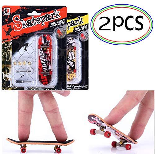 generisch Finger Skateboard mit Bauset 2 Stücke Fingerboard mit BMX Zubehör Fingerskateboard Tech Deck Spielzeug Geschenk Skate Park Boy Kids Kinder Geschenk Zufällige Farbe