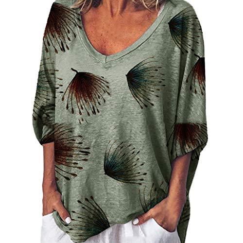 Tohole Damen T-Shirt Basic Tee Ärmeln Basic V-Ausschnitt Kurzarm T-Shirt Falten Tops T-Shirt Kurzarm Blusen Shirt Lose Stretch Basic Tee Elegantes Schlichtes Top(Grün,2XL)