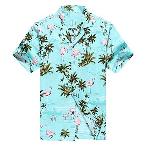 Hecho-en-Hawaii-Camisa-hawaiana-de-los-hombres-Camisa-hawaiana-4XL-Flamencos-Rosados-Allover-en-Turquoise