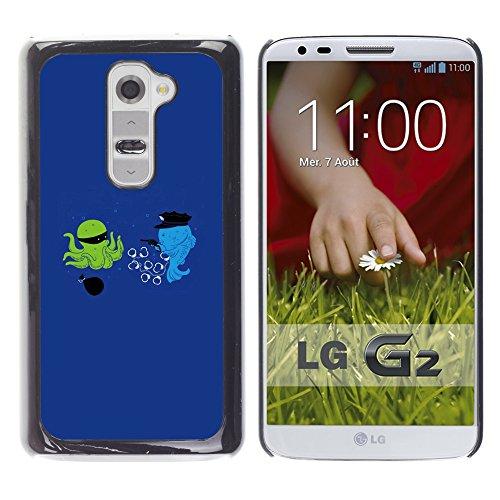 WonderWall Tapete Bunt Bild Handy Hart Schutz hülle Case Cover Schale Etui für LG G2 D800 D802 D802TA D803 VS980 LS980 - Cartoon lustige optimistisch blau