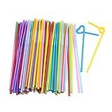 Pailles jetables - TOOGOO(R)Couleur mixte pailles flexible potable jetable -100 compte