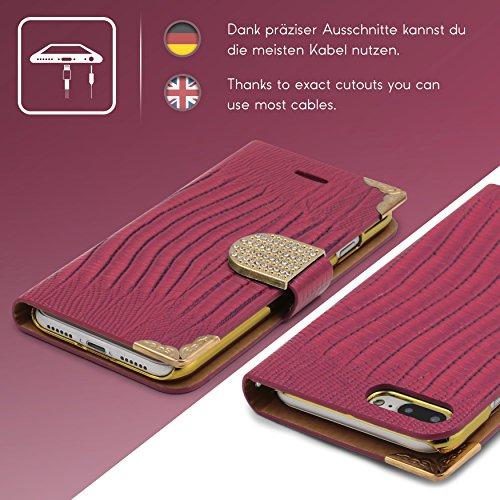 Urcover® iPhone 7 Plus / 8+ Hülle, Crocodile Edition Wallet mit [ Magnet Stand-Funktion ] Bookstyle Flip Case Etui Cover Handytasche Schutzhülle für Apple iPhone 7 Plus / 8+ Farbe: Schwarz Pink