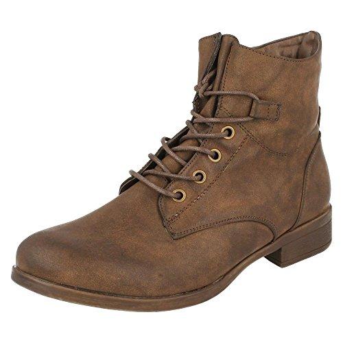 Spot On - Stivaletti alla caviglia stile militare - Donna (36 EU) (Marrone)