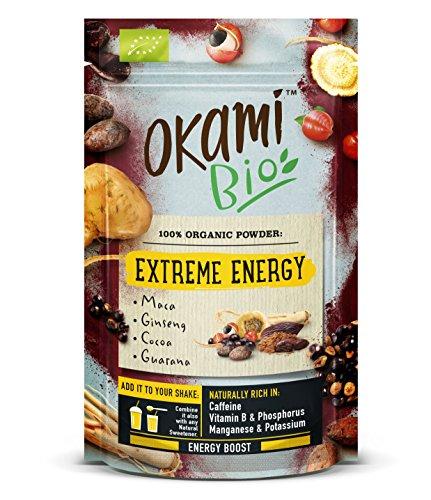 """Okami Bio\""""Extreme Energy\"""" Superfood Powder Mix 200 gr   Mezcla Vegana Orgánica de Maca, Cacao, Guaraná y Ginseng   Te da el mismo impulso que una bebida energética, pero 100{7c53d21b10323bce11728bfddcd9b60de315bf119b08108390ccff2bd40a89b7} natural."""