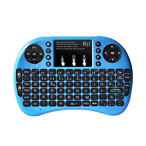 (Novedad 2015, con Luz de fondo) Rii mini i8+ Mini teclado ergonómico con ratón tipo touchpad incorporado. Compatible con SmartTV, Mini PC, Android, PS3, PS4, Xbox, HTPC, PC, Raspberry Pi, Kodi, XBMC, IPTV, MacOS, Linux y Windows XP/7/8/10 (Rii mini i8+ Azul)