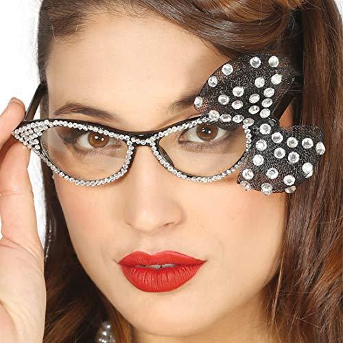 Amakando Auffällige Rockabilly Retro-Brille / Schwarz-Silber / Rockabella Kostüm-Zubehör für Frauen / EIN Blickfang zu Fasching & ()