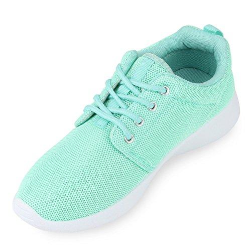 Trendfarben Sportschuhe Runners Fitness Laufschuhe Sneakers Hellgrün Prints Übergrößen Damen Ewqx4R77